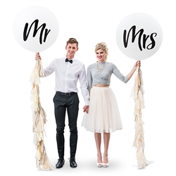 "36"" Jumbo White Round Wedding Balloon -  ""Mr"""