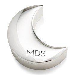 Personalized Silver Half Moon Jewellery Box - Modern Initials Etching