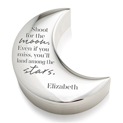 Personalized Silver Half Moon Jewellery Box - Shoot For The Moon Etching
