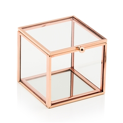 Small Glass Jewellery Box With Rose Gold Edges