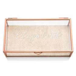 Personalized Glass Jewellery Box With Rose Gold - Elegant Calligraphy Printing