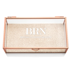 Personalized Glass Jewellery Box With Rose Gold - Modern Serif Initials Printing