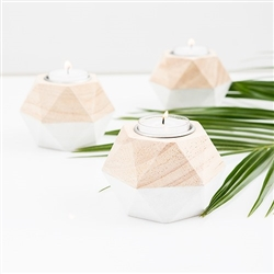Geometric Wooden Tealight Holder (pkg of 4)