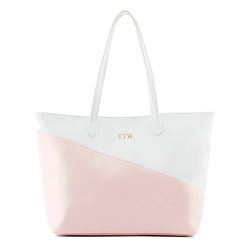Faux Leather Colour Block Tote Bag - Pink & White