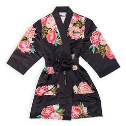 Blissful Blooms Silky Kimono Robe - Black