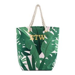 Tropical Leaf Print Canvas Tote