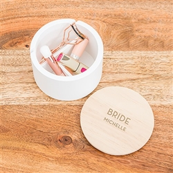 Round Wooden Keepsake Box With Lid - Modern Font Bride Etching
