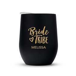 Personalized Stemless Travel Tumbler - Bride Tribe Design
