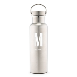 Personalized Chrome Water Bottle With Handle - Custom Monogram Design