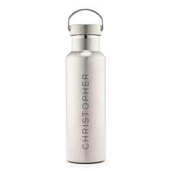 Personalized Chrome Water Bottle With Handle - Contemporary Vertical Line Design