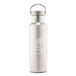 Stainless Steel Chrome Water Bottle - Modern Logo Design