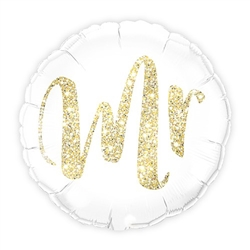 Mylar Foil Helium Party Balloon Wedding Decoration - White With Gold Mr. Glitter - Celebrate