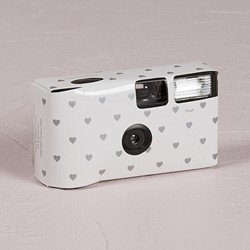 Single Use Camera - White And Silver Hearts Design