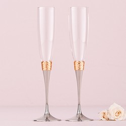 Toasting Flutes - Hammered Gold & Polished Silver