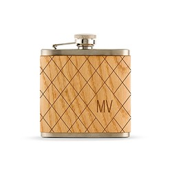 Wood Wrapped Hip Flask - Argyle Monogram Etching