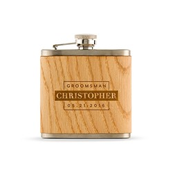 Wood Wrapped Hip Flask - Groomsman Block Etching