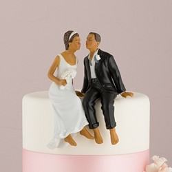Whimsical Sitting Bride and Groom - Non-Caucasian