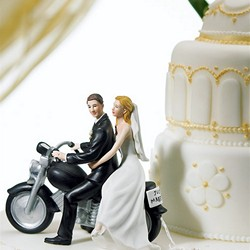 "Motorcycle ""Get-away"" Wedding Couple Figurine"