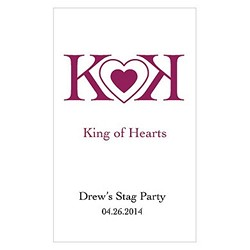 King Of Hearts Design Playing Cards with personalized sticker (Sold in package of 12)