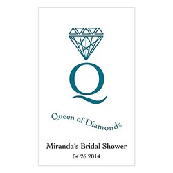 Queen Of Diamonds  Design Playing Cards with personalized sticker (Sold in package of 12)