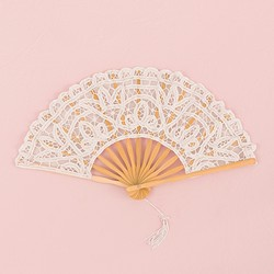 Antiqued Lace Hand Fan -White