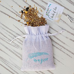 White Linen Drawstring Favour Bag  (Package of 6)
