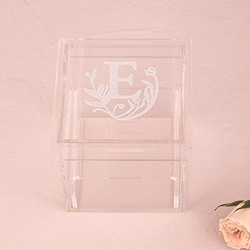 Acrylic Wedding Ring Box - Modern Fairy Tale Etching