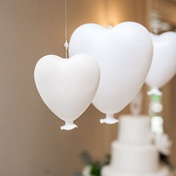 White Blown Glass Hanging Heart Decoration - Small