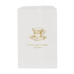 Vintage Tea Cup Printed Flat Paper Goodie Bag (set of 25)