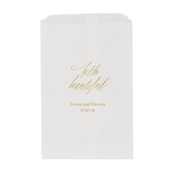 """Hello Beautiful"" Printed Flat Paper Goodie Bag (set of 25)"