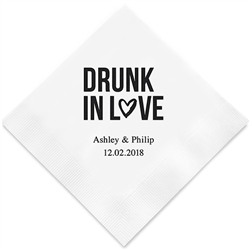 """Drunk In Love"" Printed Napkins (Set of 100)"