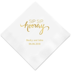"""Sip Sip, Hooray"" Printed Napkins (Set of 100)"