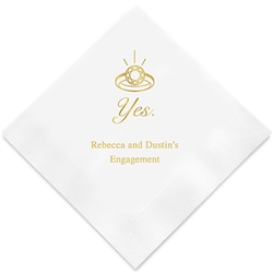 Yes (to the ring) Printed Napkins  (Set of 100)