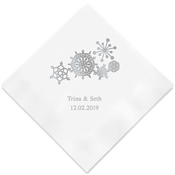 Winter Finery Snowflake Printed Napkins (Set of 100)