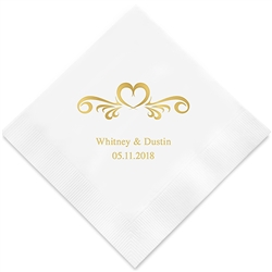 Heart Swirl Printed Napkins (Set of 100)