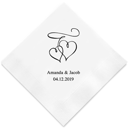 Double Hearts Printed Napkins (Set of 100)
