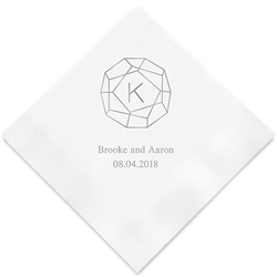 Gemstone Initial Printed Napkins (Set of 100)