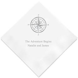 Vintage Travel Compass Printed Napkins (Set of 100)