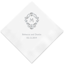 Classic Filigree Initial Printed Napkins (Set of 100)