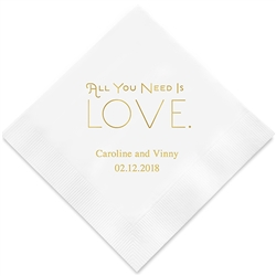 All You Need is Love. Printed Napkins (Set of 100)