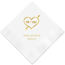Me + You In Heart And Arrow Printed Napkins(set of 100)
