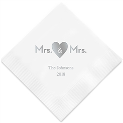 Mrs. & Mrs. Heart Printed Napkins(set of 100)