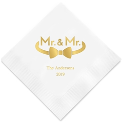 Mr. & Mr. Single Bowtie Printed Napkins(set of 100)