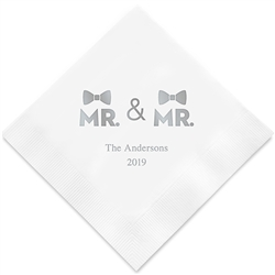 Mr. & Mr. Double Bowtie Printed Napkins(set of 100)