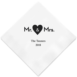 Mr. & Mrs. Heart Printed Napkins (set of 100)