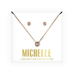Crystal Earring & Solitaire Necklace Set - Couldn't Do It Without You Design