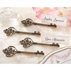 """Key To My Heart"" Victorian-Style Key Place Card Holder (Set of 4)"
