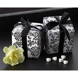 """Classic Damask"" Favor Box in Black & White (24 Pack)"