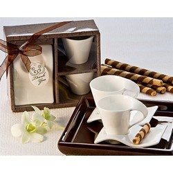 """Swish"" Cup and Biscotti Plate Favor (Set of 2)"