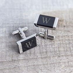 Personalized Faux Onyx Stainless Steel Cuff Links